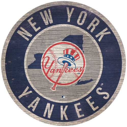New York Yankees Sign Wood 12 Inch Round State Design
