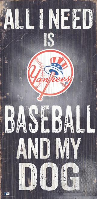 New York Yankees Sign Wood 6x12 Baseball and Dog Design