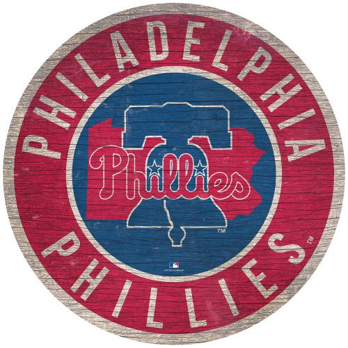 Philadelphia Phillies Sign Wood 12 Inch Round State Design