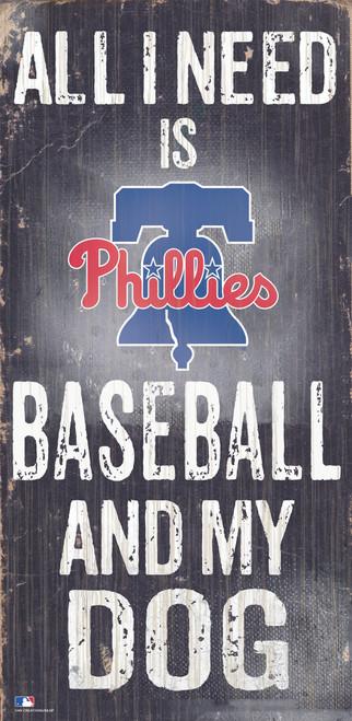 Philadelphia Phillies Sign Wood 6x12 Baseball and Dog Design