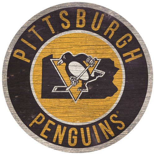 Pittsburgh Penguins Sign Wood 12 Inch Round State Design