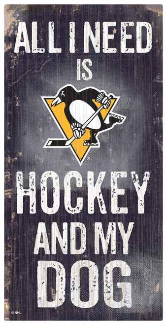 Pittsburgh Penguins Sign Wood 6x12 Hockey and Dog Design