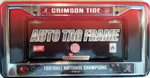 Alabama Crimson Tide License Plate Frame Chrome 2012 National Champ