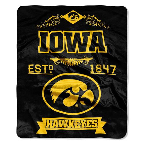 Iowa Hawkeyes Blanket 50x60 Raschel Label Design