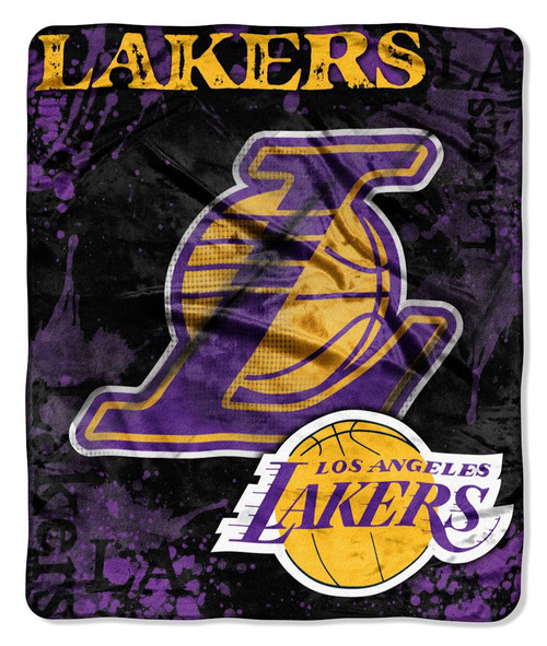 Los Angeles Lakers Blanket 50x60 Raschel Drop Down Design