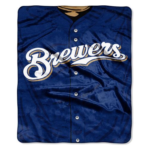 Milwaukee Brewers Blanket 50x60 Raschel Jersey Design