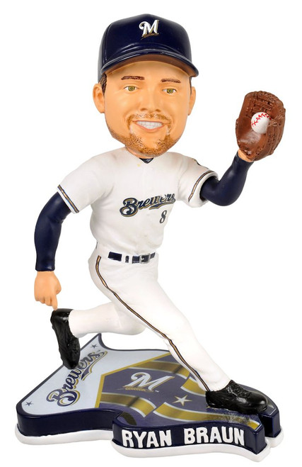Milwaukee Brewers Ryan Braun Forever Collectibles Pennant Base Bobblehead