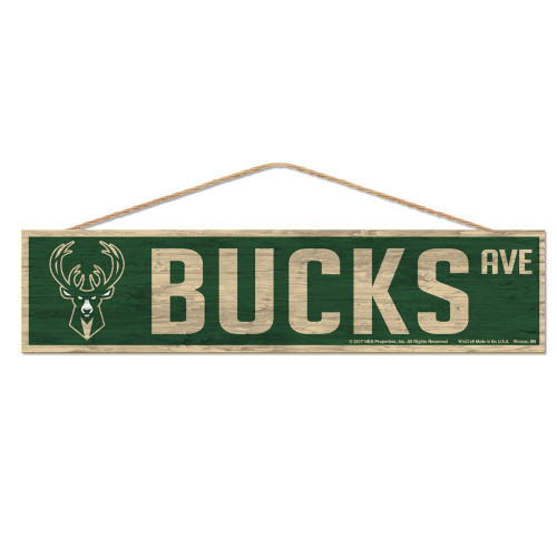 Milwaukee Bucks Sign 4x17 Wood Avenue Design Special Order
