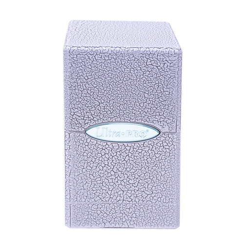 Satin Tower Deck Box Ivory Crackle Hi-Gloss Special Order