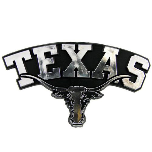 Texas Longhorns Auto Emblem Silver Chrome