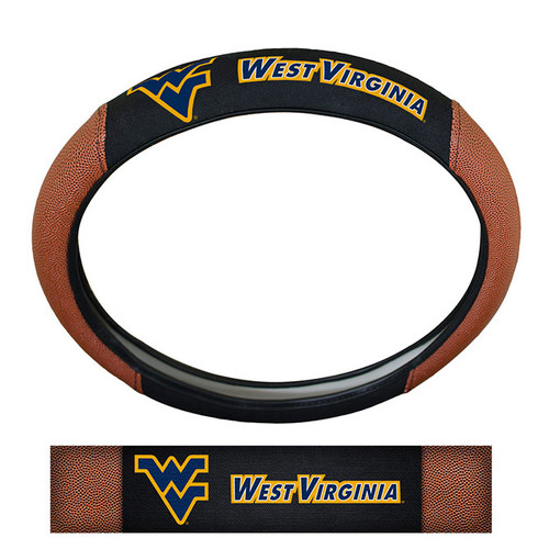 West Virginia Mountaineers Steering Wheel Cover Premium Pigskin Style Special Order