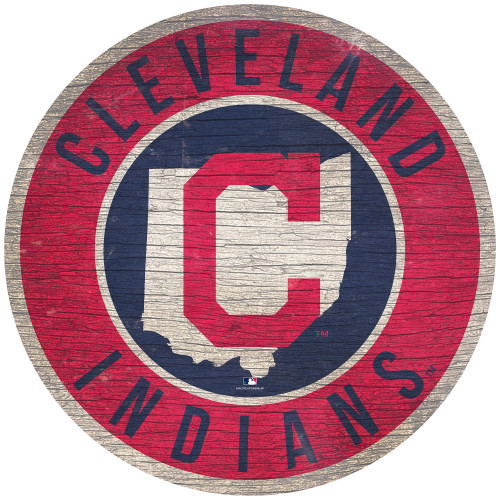 Cleveland Indians Sign Wood 12 Inch Round State Design Special Order
