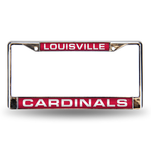 Louisville Cardinals License Plate Frame Laser Cut Chrome Special Order