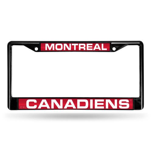 Montreal Canadiens License Plate Frame Laser Cut Chrome Black