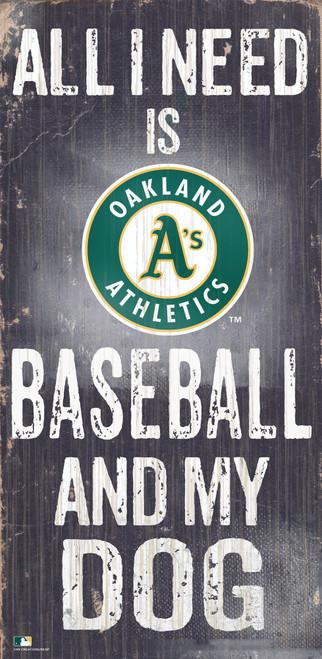 Oakland Athletics Sign Wood 6x12 Baseball and Dog Design Special Order