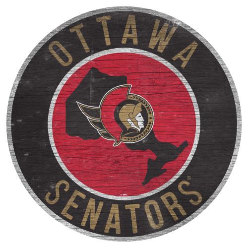 Ottawa Senators Sign Wood 12 Inch Round State Design Special Order