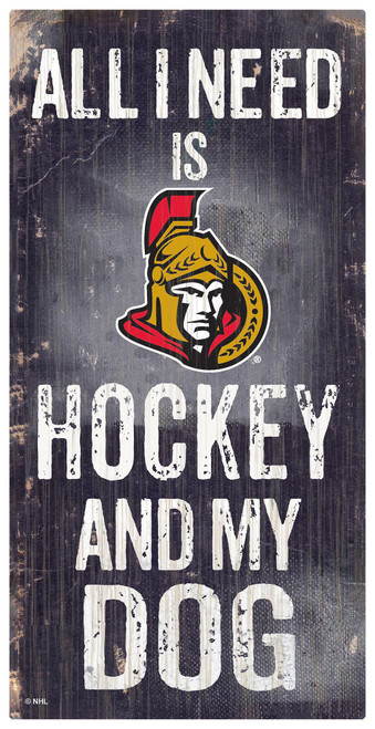 Ottawa Senators Sign Wood 6x12 Hockey and Dog Design Special Order