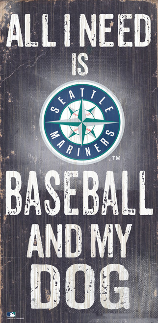 Seattle Mariners Sign Wood 6x12 Baseball and Dog Design Special Order