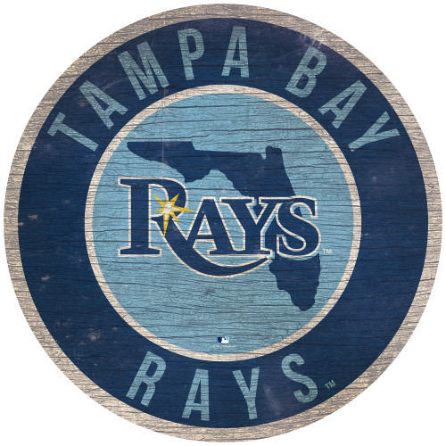 Tampa Bay Rays Sign Wood 12 Inch Round State Design Special Order