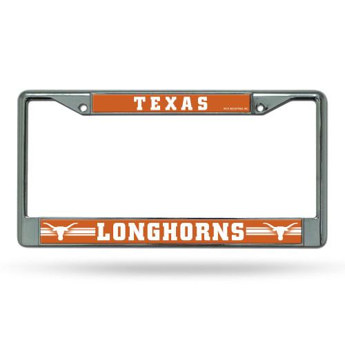 Texas Longhorns License Plate Frame Chrome Alternate Special Order