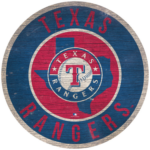 Texas Rangers Sign Wood 12 Inch Round State Design Special Order