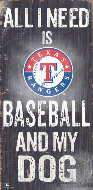 Texas Rangers Sign Wood 6x12 Baseball and Dog Design Special Order