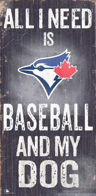 Toronto Blue Jays Sign Wood 6x12 Baseball and Dog Design Special Order