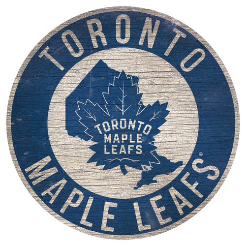 Toronto Maple Leafs Sign Wood 12 Inch Round State Design Special Order