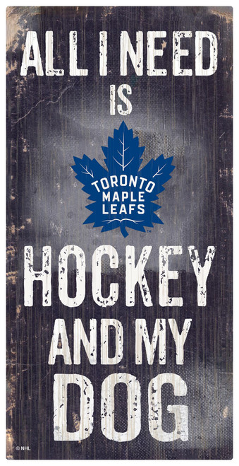Toronto Maple Leafs Sign Wood 6x12 Hockey and Dog Design Special Order