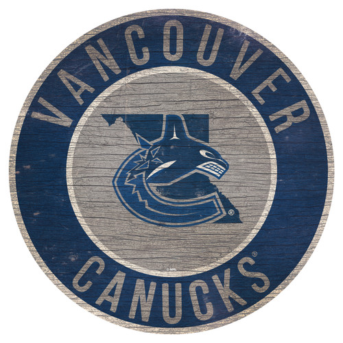 Vancouver Canucks Sign Wood 12 Inch Round State Design Special Order