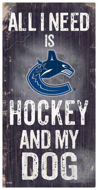 Vancouver Canucks Sign Wood 6x12 Hockey and Dog Design Special Order