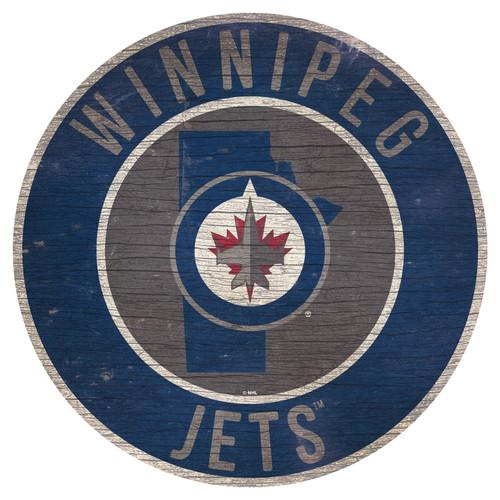 Winnipeg Jets Sign Wood 12 Inch Round State Design Special Order