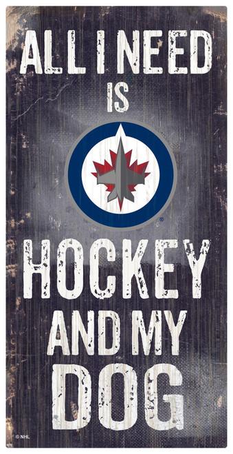 Winnipeg Jets Sign Wood 6x12 Hockey and Dog Design Special Order
