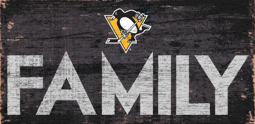 Pittsburgh Penguins Sign Wood 12x6 Family Design - Special Order