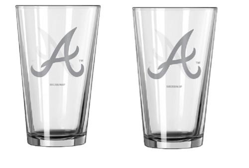 Atlanta Braves Glass Pint Frost Design 2 Piece Set