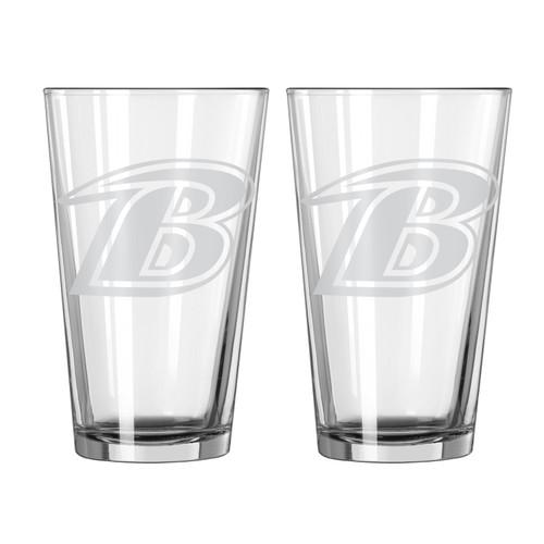Baltimore Ravens Glass Pint Frost Design 2 Piece Set