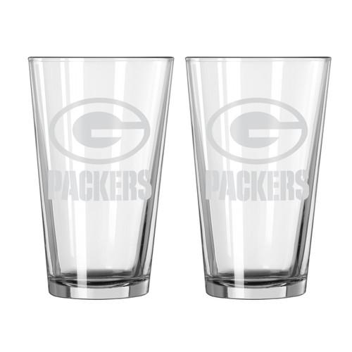 Green Bay Packers Glass Pint Frost Design 2 Piece Set