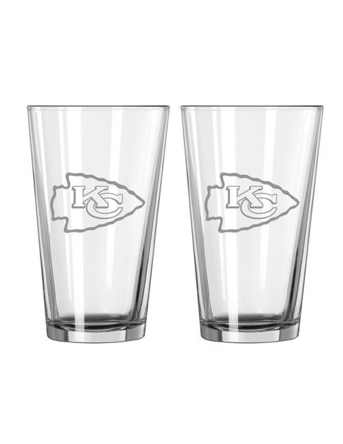 Kansas City Chiefs Glass Pint Frost Design 2 Piece Set