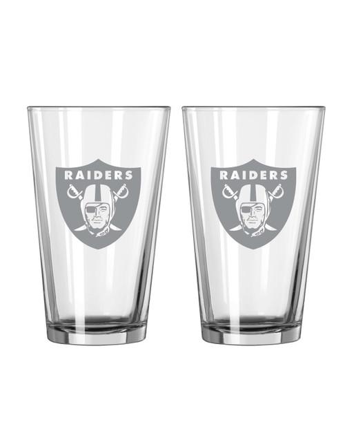 Las Vegas Raiders Glass Pint Frost Design 2 Piece Set