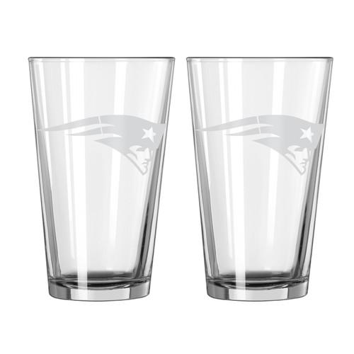 New England Patriots Glass Pint Frost Design 2 Piece Set
