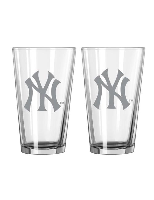 New York Yankees Glass Pint Frost Design 2 Piece Set