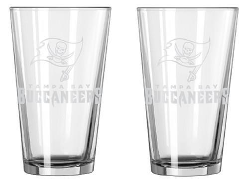 Tampa Bay Buccaneers Glass Pint Frost Design 2 Piece Set