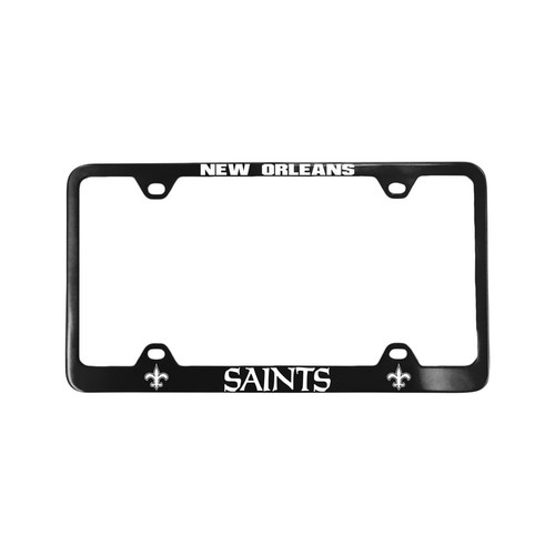 New Orleans Saints License Plate Frame Laser Cut Black