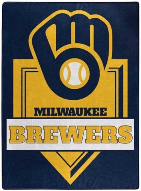 Milwaukee Brewers Blanket 60x80 Raschel Home Plate Design