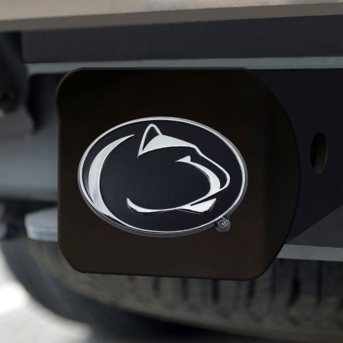 Penn State Nittany Lions Hitch Cover Chrome Emblem on Black - Special Order