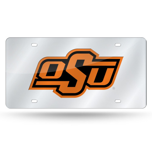 Oklahoma State Cowboys License Plate Laser Cut Silver - Special Order