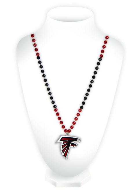 Atlanta Falcons Beads with Medallion Mardi Gras Style