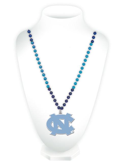 North Carolina Tar Heels Beads with Medallion Mardi Gras Style