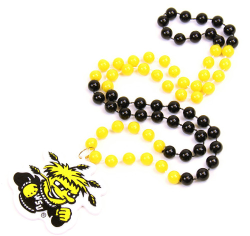 Wichita State Shockers Beads with Medallion Mardi Gras Style - Special Order