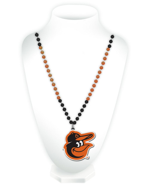 Baltimore Orioles Beads with Medallion Mardi Gras Style - Special Order